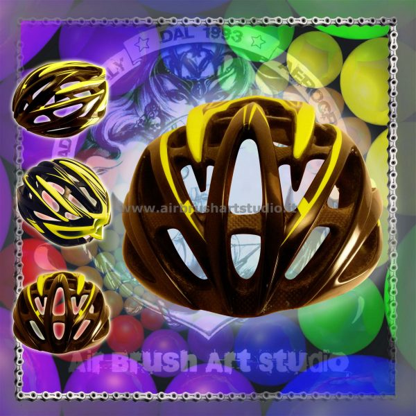 airbrushartstudio.it-aerografie-padova-italy-bike-helmet-yellowfluo-black